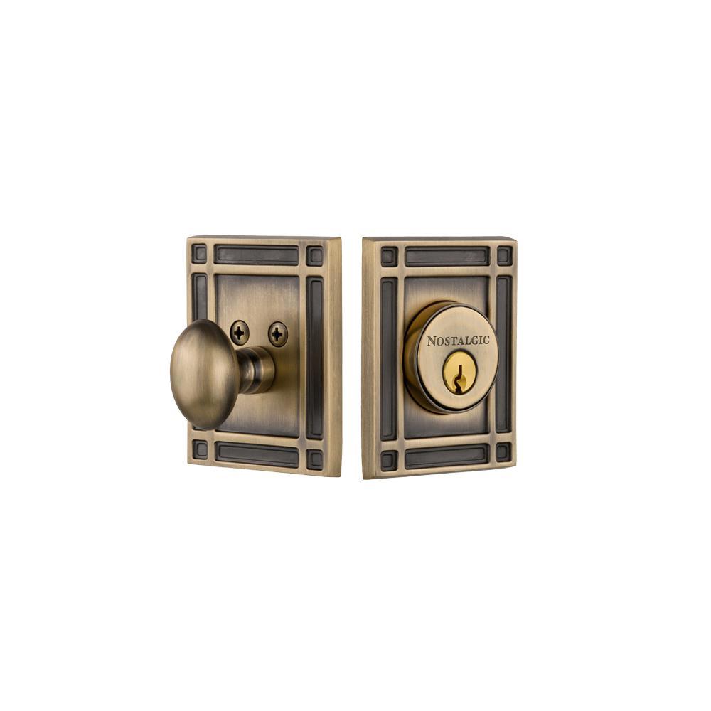 Mission Plate 2-3/8 in. Backset Single Cylinder Deadbolt in Antique Brass