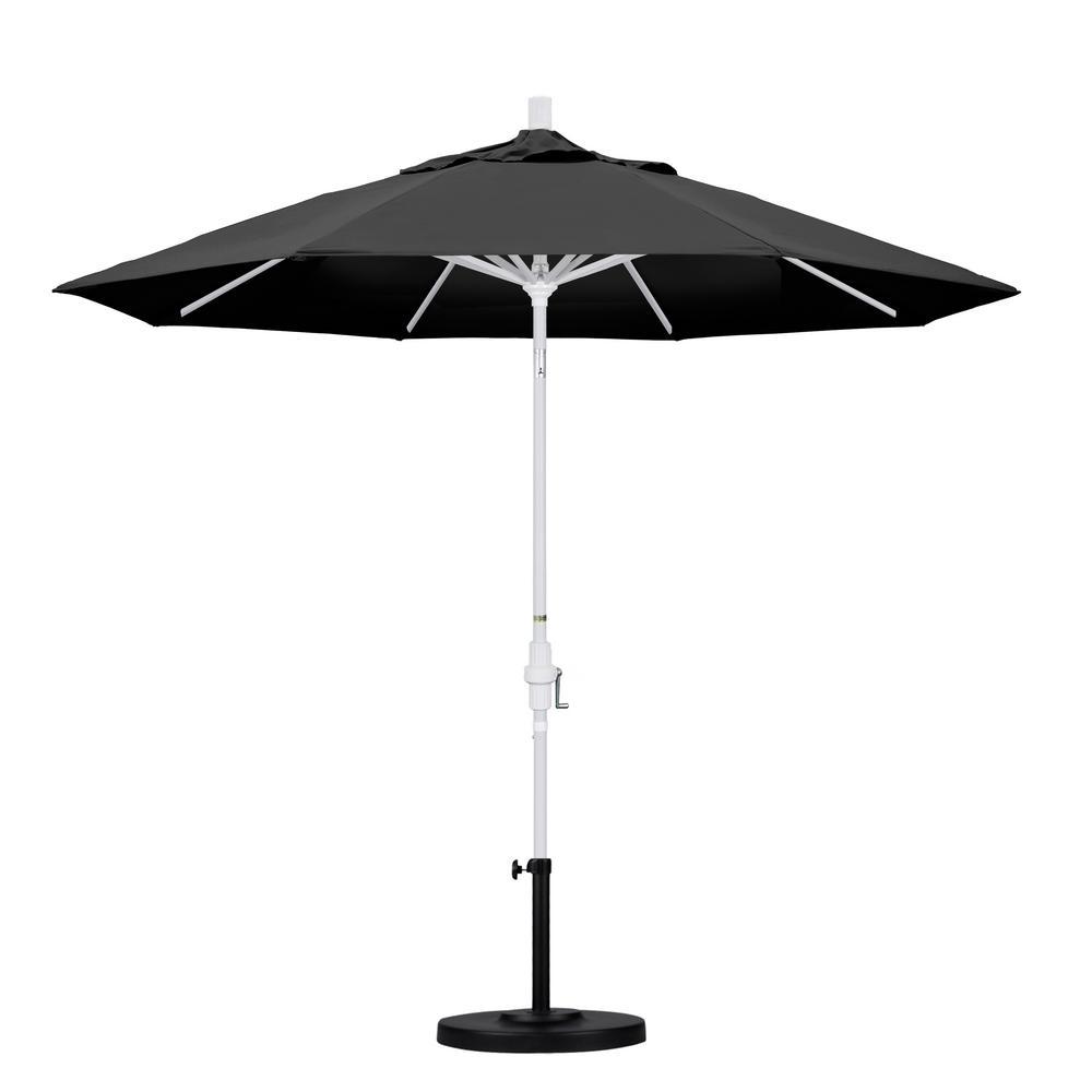 9 ft. Aluminum Collar Tilt Patio Umbrella in Black Olefin