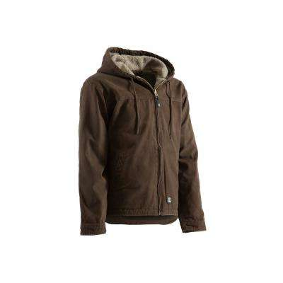 Men's Medium Regular Bark 100% Cotton Washed Hooded Work Coat