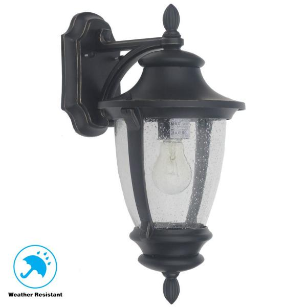 Home Decorators Collection Wilkerson 1 Light Black Outdoor Wall Lantern Sconce 23451 The Home Depot
