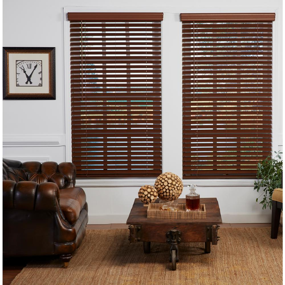 Perfect Lift Window Treatment Cut-to-Width Dark Oak 2in. Cordless Faux Wood Blind - 30.5in. W x 72in. L (Actual size: 30.5in. W x 72in. L)