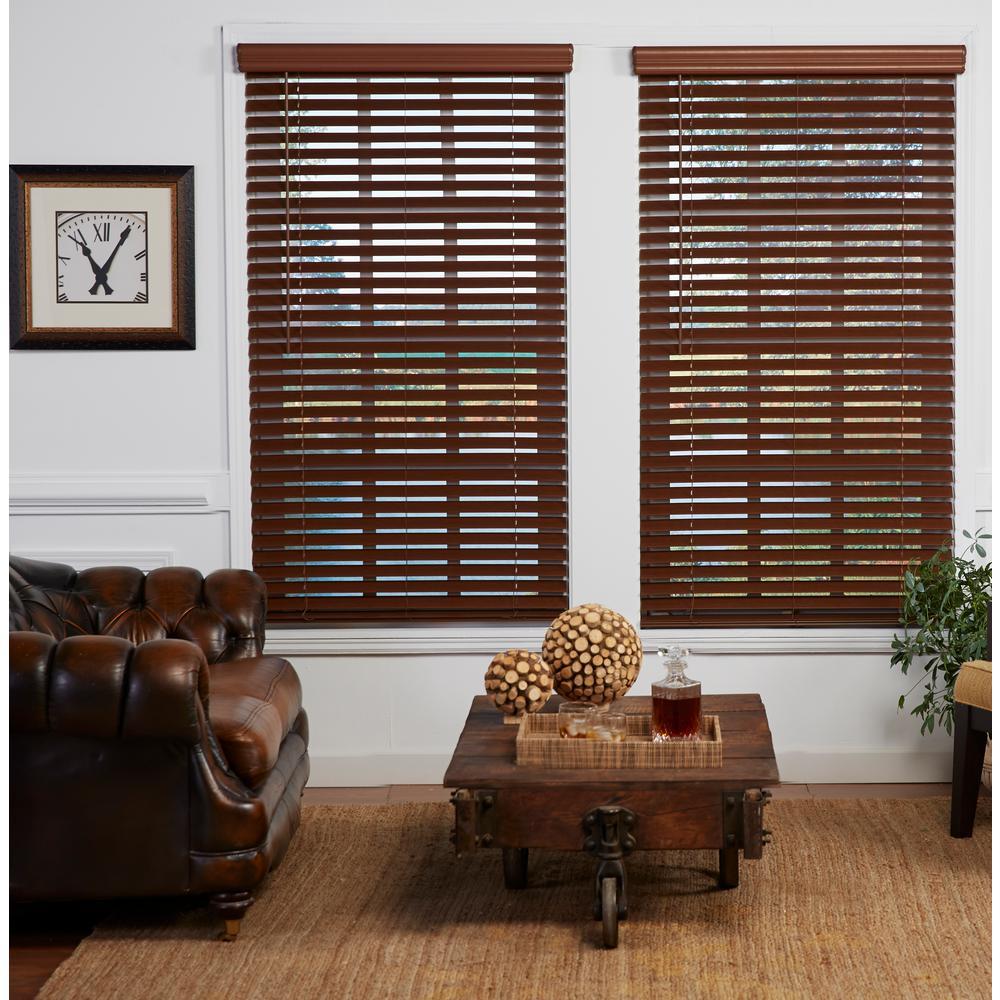 Perfect Lift Window Treatment Cut-to-Width Dark Oak 2in. Cordless Faux Wood Blind - 58.5in. W x 72in. L (Actual size: 58.5in. W x 72in. L)