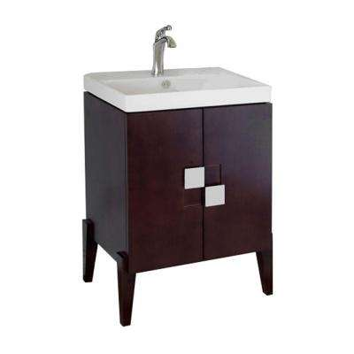 Perth 25 in. W x 18.3 in. D x 36 in. H Single Sink Wood Vanity in Walnut with Porcelain Vanity Top in White