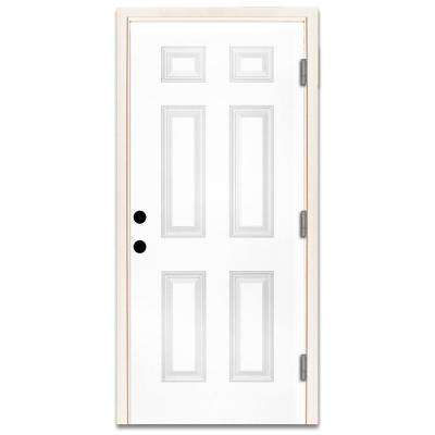 36 in. x 80 in. Premium 6-Panel Primed White Steel Prehung Front Door with  36 in. Left-Hand Outswing and 4 in. Wall