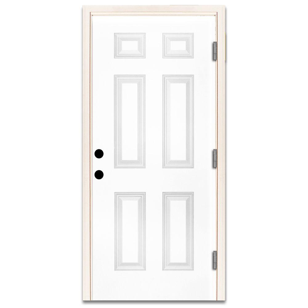 Steves Sons 30 In X 80 In Premium 6 Panel Primed White Steel Prehung Front Door Left Hand Outswing And 4 In Wall St60 Pr 26 4olh The Home Depot