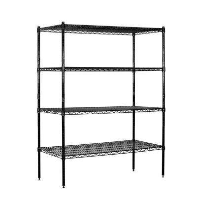 48 in. W x 63 in. H x 18 in. D Galvanized Wire Stationary Wire Shelving in Black