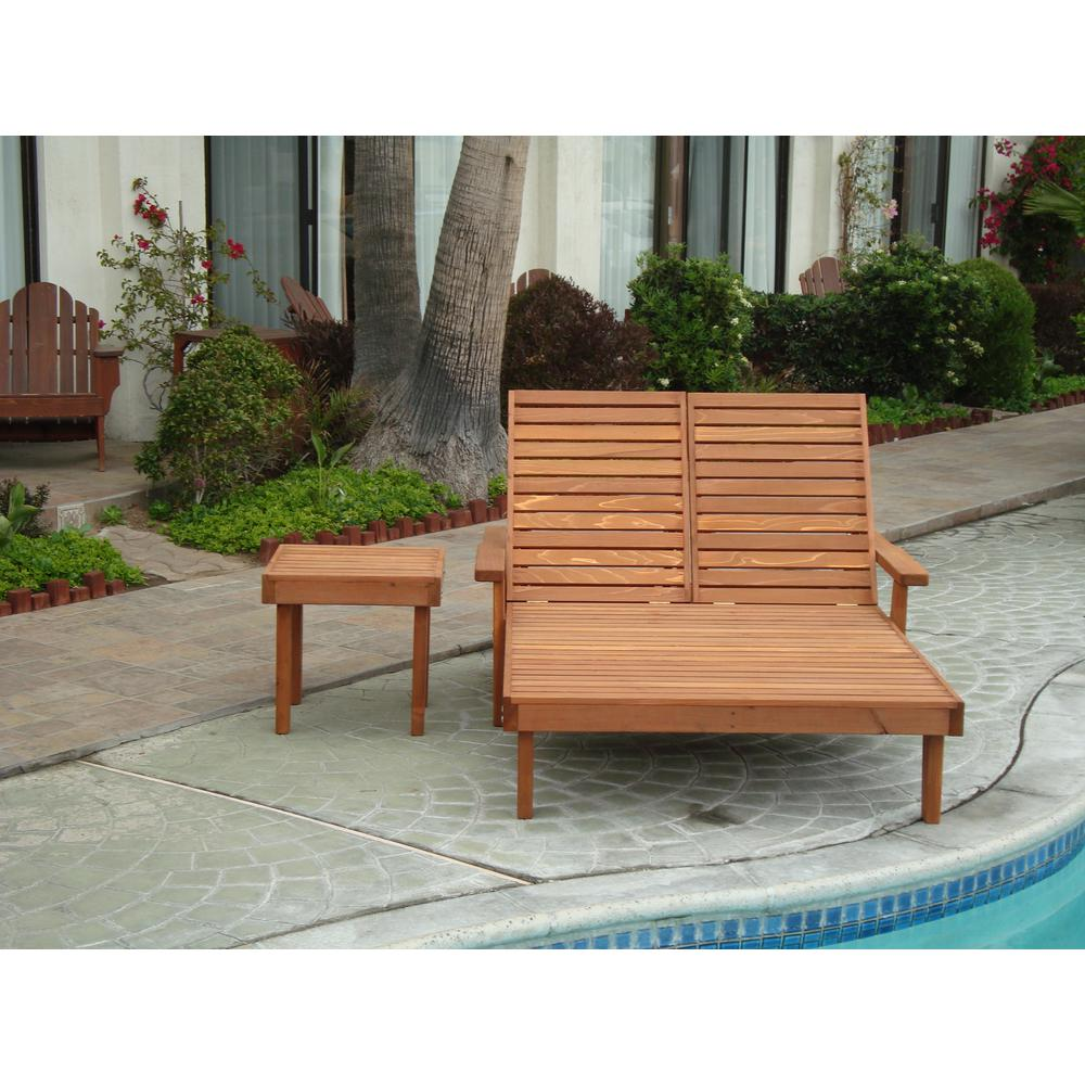 Double Summer 1905 Super Deck Redwood Outdoor Chaise Lounge