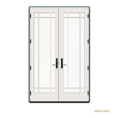 60 in. x 96 in. W-4500 Contemporary Green Clad Wood Right-Hand 9 Lite French Patio Door w/White Paint Interior