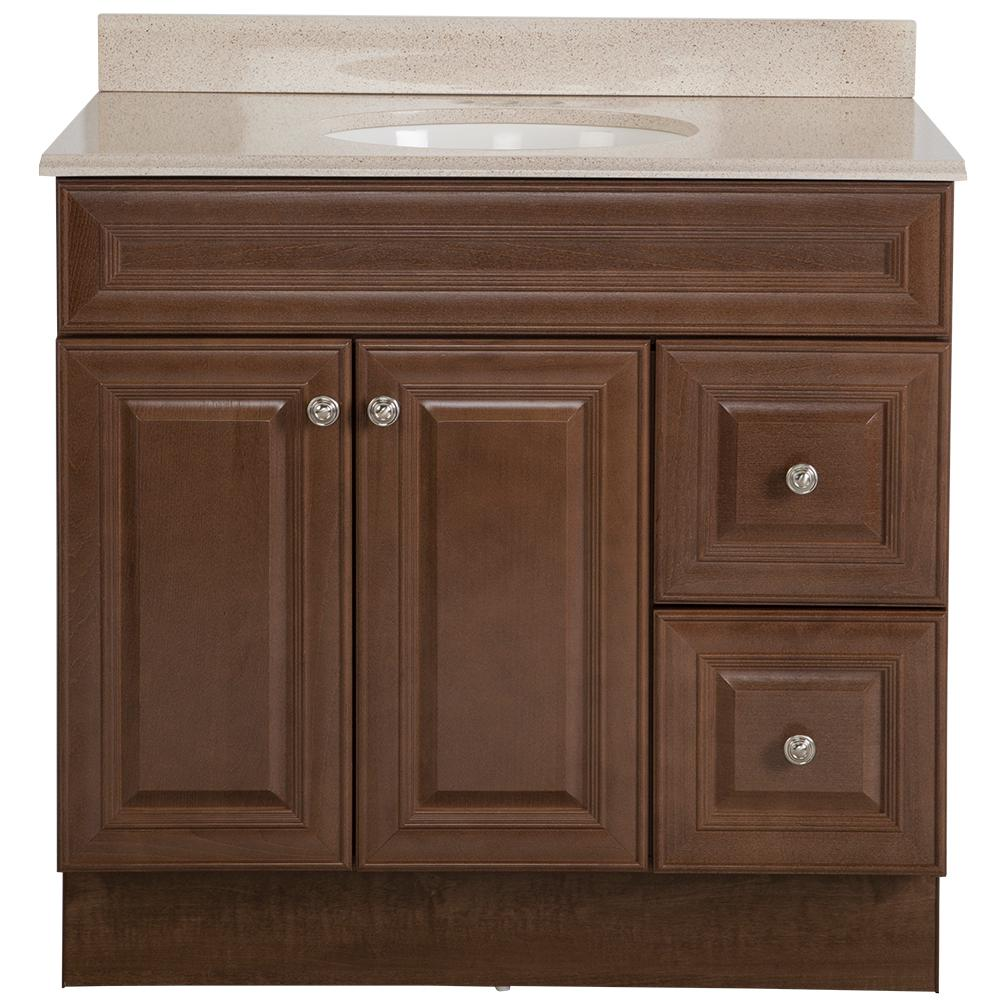 Glacier Bay Glensford 37 in. W x 22 in. D Bathroom Vanity in Butterscotch with Colorpoint Vanity Top in Maui with White Sink