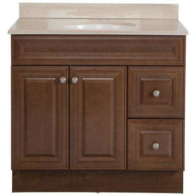 Glensford 37 in. W x 22 in. D Bathroom Vanity in Butterscotch with Colorpoint Vanity Top in Maui with White Sink