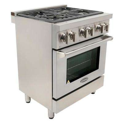 Commercial-Style 30 in. 3.9 cu. ft. Dual Fuel Range with 4 Italian Burners Cast Iron Grates and 8 Function Electric Oven