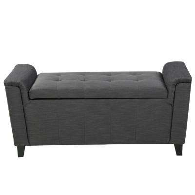 Alden Gray Fabric Armed Storage Bench