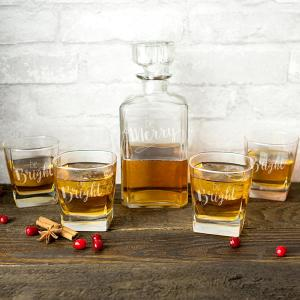 Click here to buy  Be Merry Clear Glass Christmas Decanter Set.