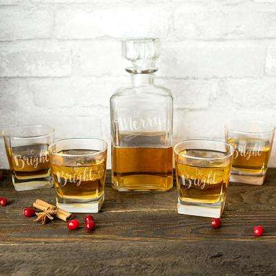 Be Merry Clear Glass Christmas Decanter Set