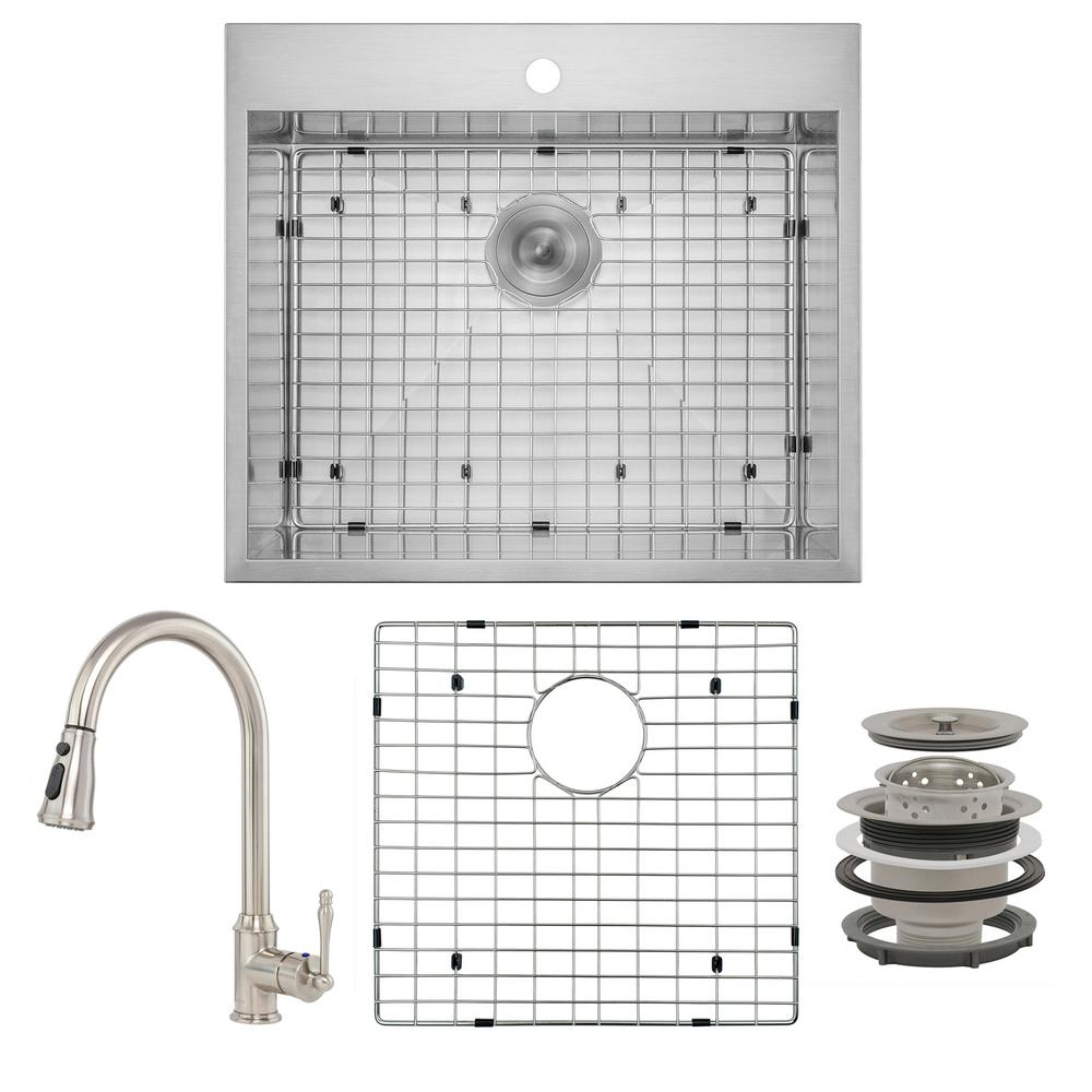 AKDY Handmade All-in-One Drop-in Stainless Steel 25 in. x 22 in. Sink Grid Pull-down Faucet 1-hole Single Bowl Kitchen Sink, Brushed Stainless Steel was $468.0 now $289.99 (38.0% off)