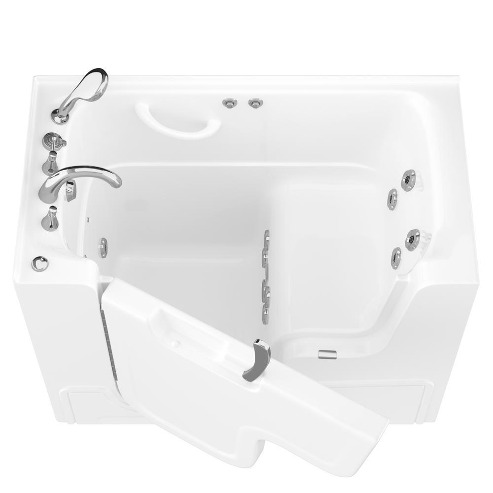 HD Series 53 in. Left Drain Wheelchair Access Walk-In Whirlpool Bath Tub with Powered Fast Drain in White