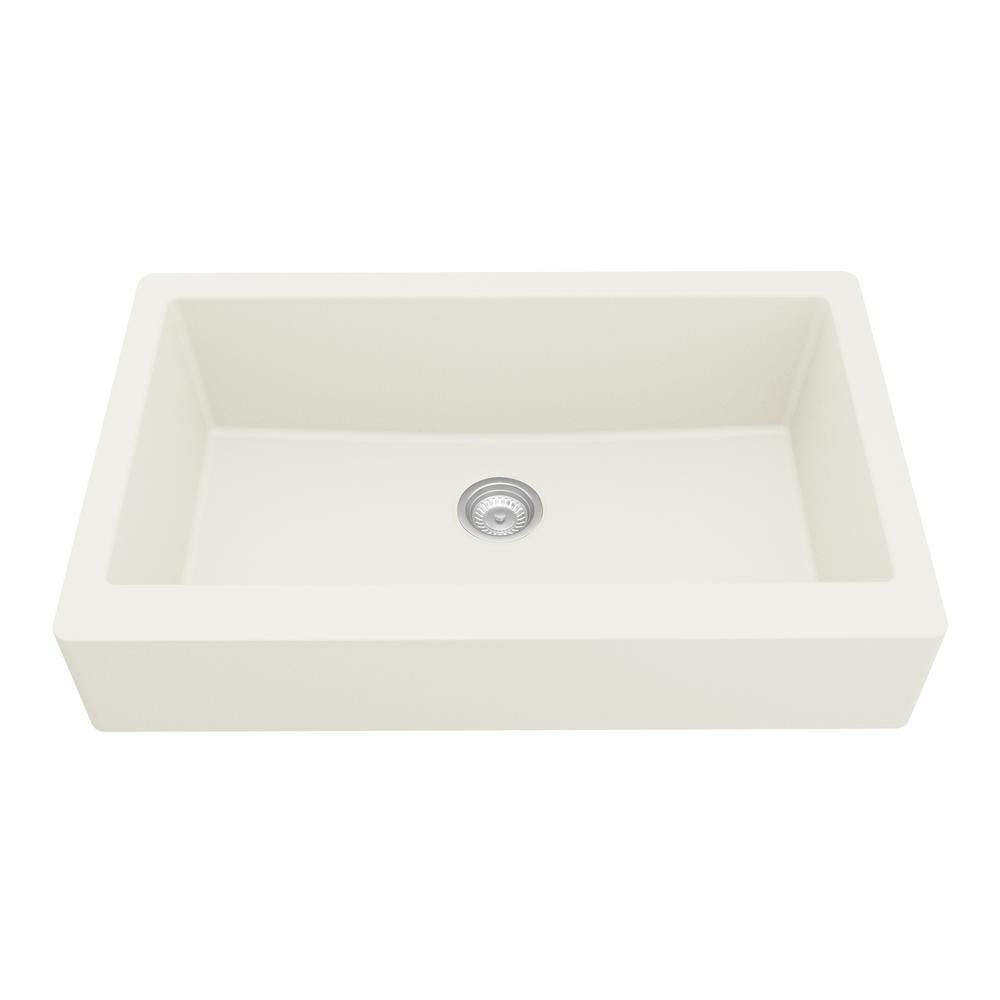 Karran Retrofit Farmhouse/Apron-Front Quartz Composite 34 in. Single Bowl Kitchen Sink in White