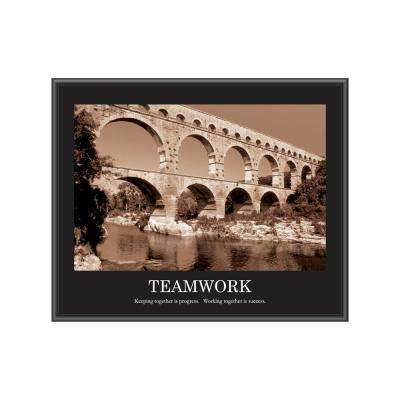 "24 in. x 30 in. ""Sepia Teamwork"" Framed Printed Wall Art"