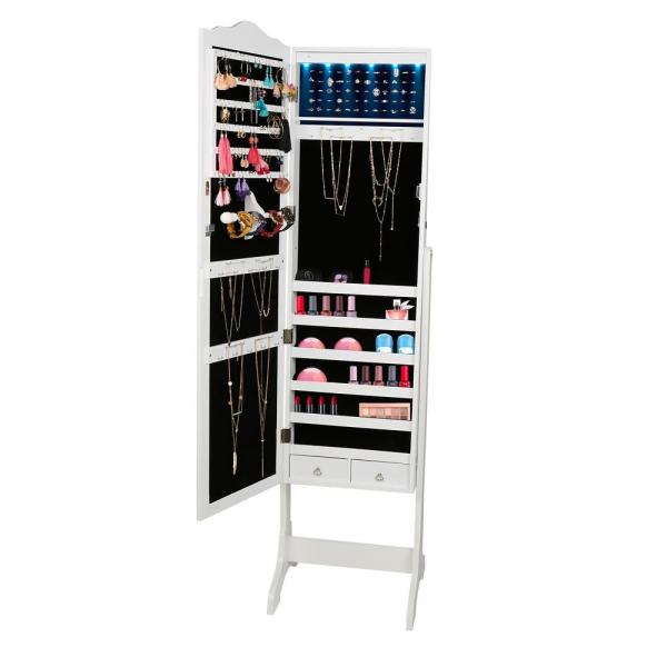 Mind Reader White Free Standing Jewelry Armoire Storage Cabinet, 14 LED  Lights,