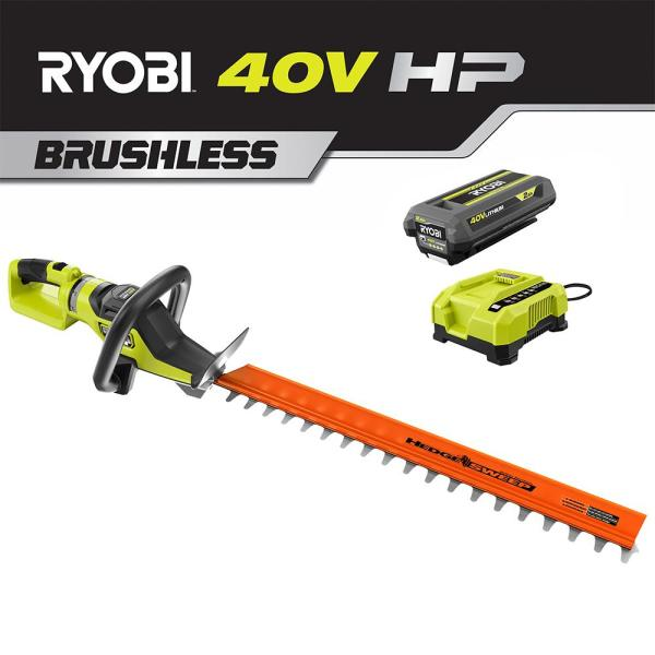 26 in. 40-Volt HP Brushless Lithium-Ion Cordless Hedge Trimmer with 2 Ah Battery and Charger Included