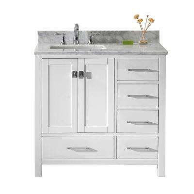 Caroline Avenue 36 in. W Bath Vanity in White with Marble Vanity Top in White with Square Basin