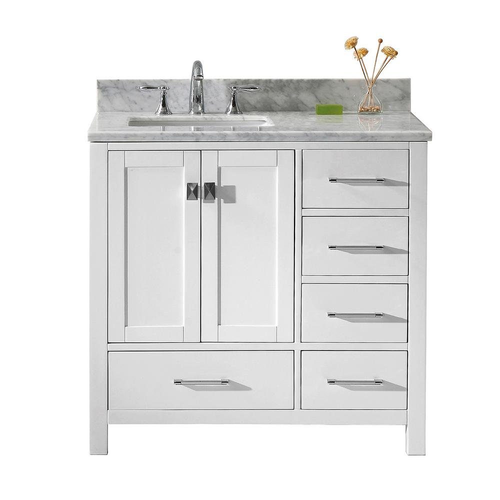 Virtu Usa Caroline Avenue 36 In W X 22 In D Single Vanity In White With Marble Vanity Top In