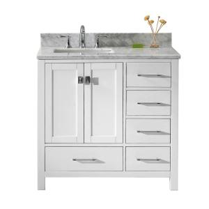 Virtu USA Caroline Avenue 36 inch W x 22 inch D Single Vanity in White with Marble Vanity Top in White with White Basin by Virtu USA