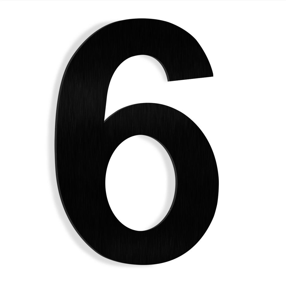Barton 6 In  Black Stainless Steel Floating House Number 6