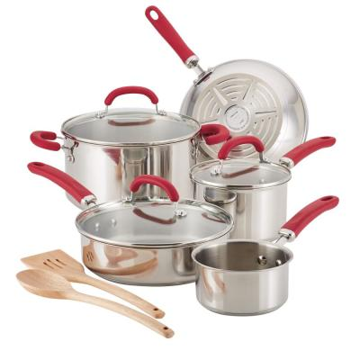 Create Delicious 10-Piece Stainless Steel Cookware Set in Stainless Steel with Red Handles