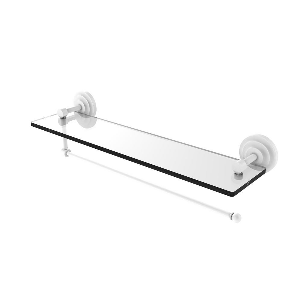 Allied Br Prestige Que New Collection 22 In Paper Towel Holder With Gl Shelf Matte White