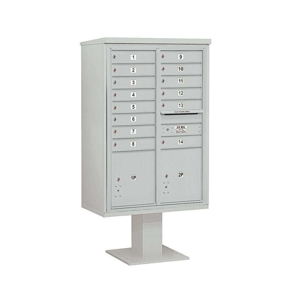 3400 Series 63-1/4 in. 13 Door High Unit Gray 4C Pedestal