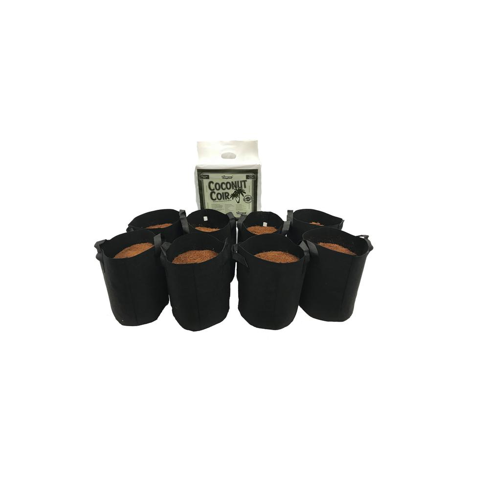 Viagrow 3 Gal Fabric Pot With Coconut Coir Premium Growing Media 8 Pack