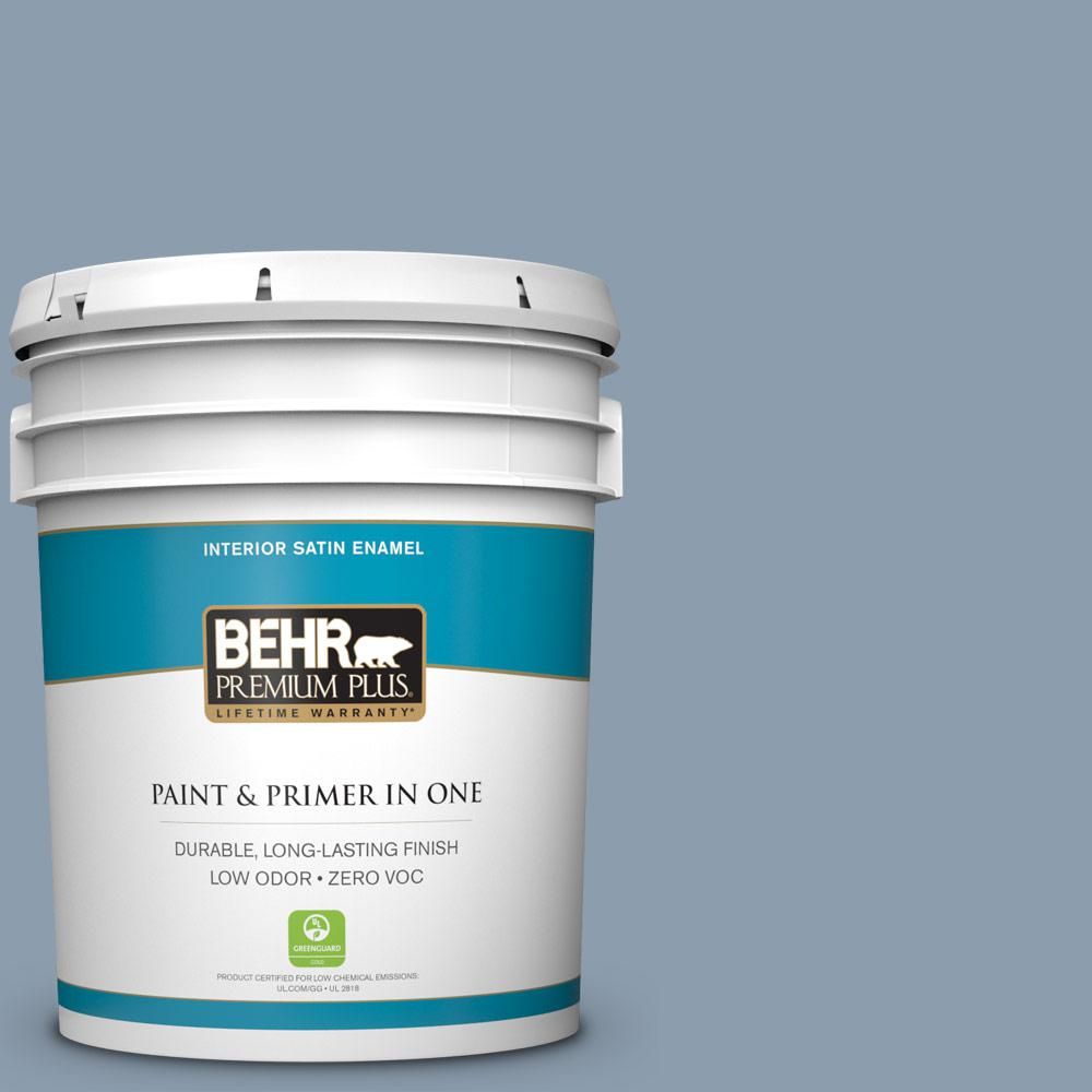 5 gal. #ICC-65 Relaxing Blue Satin Enamel Zero VOC Interior Paint