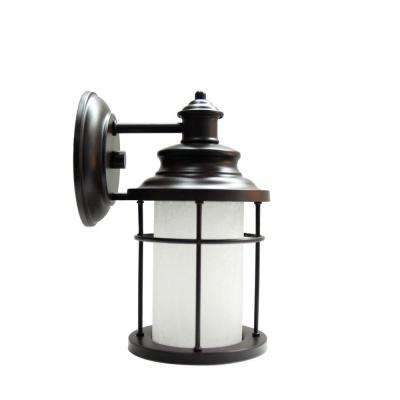 Small LED Antique Bronze Exterior Wall Light with Frosted Crackle Glass