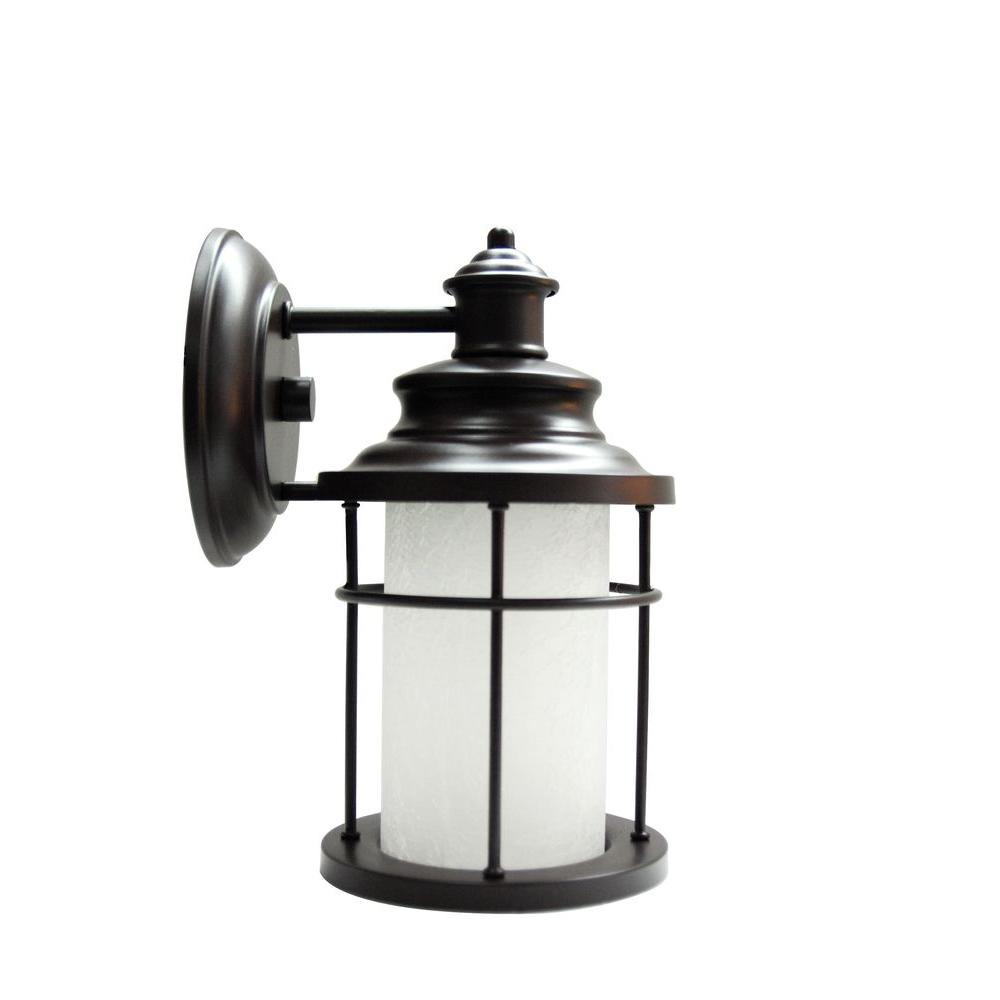 Home Decorators Collection LED Antique Bronze Exterior Wall Lantern Sconce with Frosted Crackle Glass