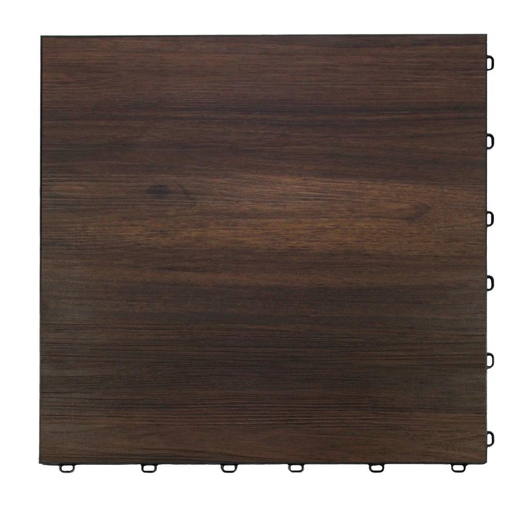 Swisstrax 15.75 in. x 15.75 in. Dark Oak Vinyl Trax 9-Tile Modular Flooring Pack (15.5 sq. ft. / case)