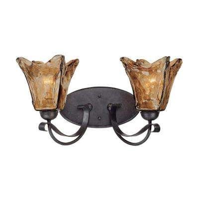 2-Light Burnished Gold Vanity Light with Umber Swirl Glass