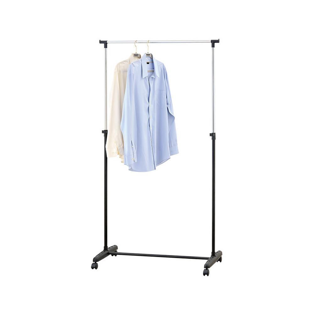Mind Reader 40 in. W x 60 in. H Black with Silver Metal Garment Rack Add space to any bedroom or laundry room with this collapsible garment rack. The steel bars become varying heights and can accommodate all of your clothing and garment selections. The rolling wheels help you travel from room to room to help you safely hang and store extra clothes. Color: Silver.