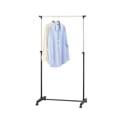 40 in. W x 60 in. H Black with Silver Metal Garment Rack