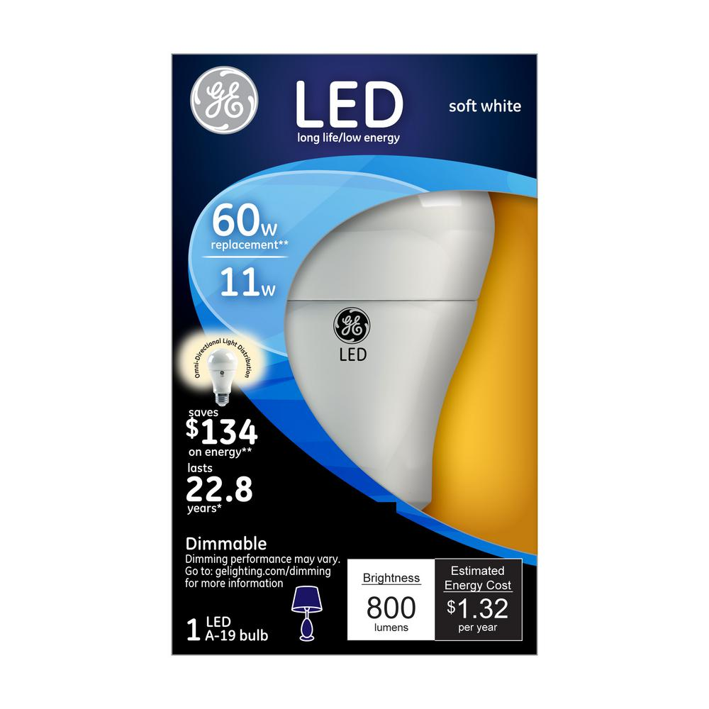 GE 60W Equivalent Soft White (2700K) A19 Omni-Directional Dimmable LED Light Bulb