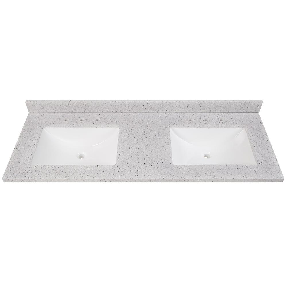 61 in. W x 22 in. D Solid Surface Double Sink Vanity Top in Silver Ash with White Sinks