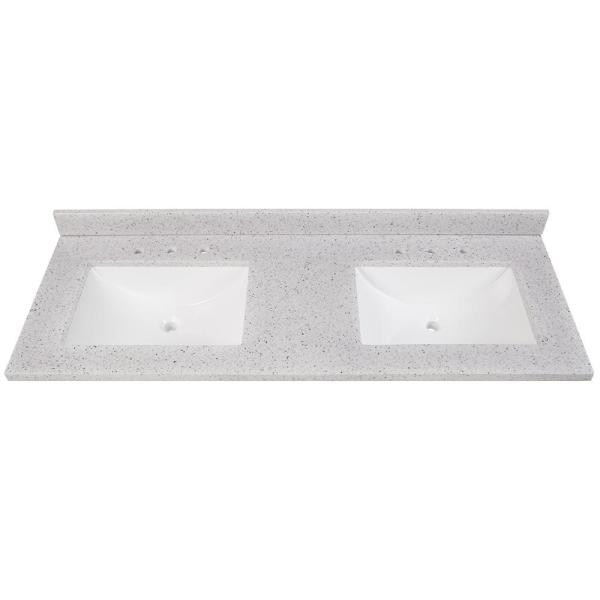 Home Decorators Collection 61 In W X 22 In D Solid Surface Double Sink Vanity Top In Silver Ash With White Sinks Ss61r Ah The Home Depot