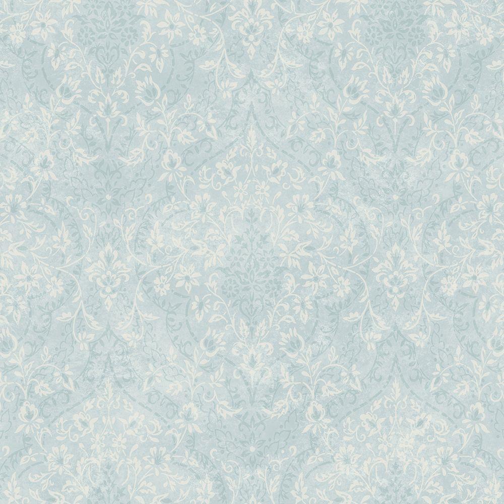Essex Blue Lacey Damask Wallpaper Sample