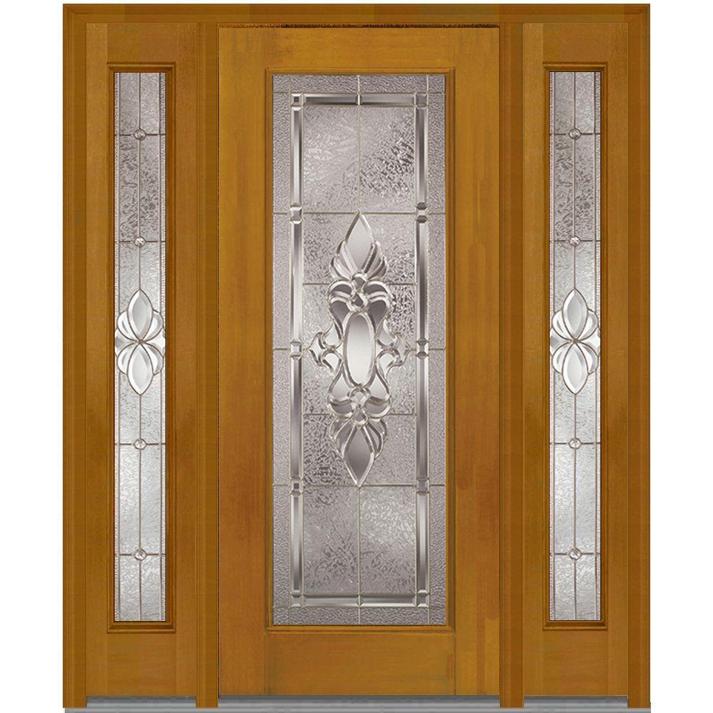 MMI Door 64 in. x 80 in. Heirloom Master Right-Hand Full Lite Decorative Fiberglass Mahogany Prehung Front Door with Sidelites