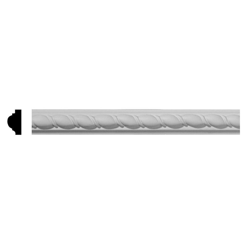 Ekena Millwork 5/8 in. x 1 in. x 96 in. Polyurethane Bulwark Rope Panel Crown Moulding