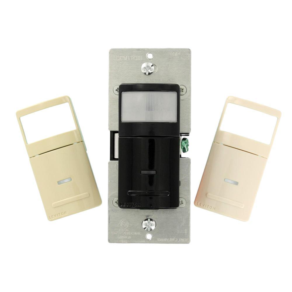 Decora 600-Watt LED/CFL 1800-Watt Inc 900 sq. ft. Manual-On (Vacancy) Motion Sensor, Black