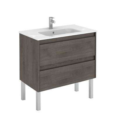 31.6 in. W x 18.1 in. D x 32.9 in. H Bathroom Vanity Unit in Samara Ash with Vanity Top and Basin in White