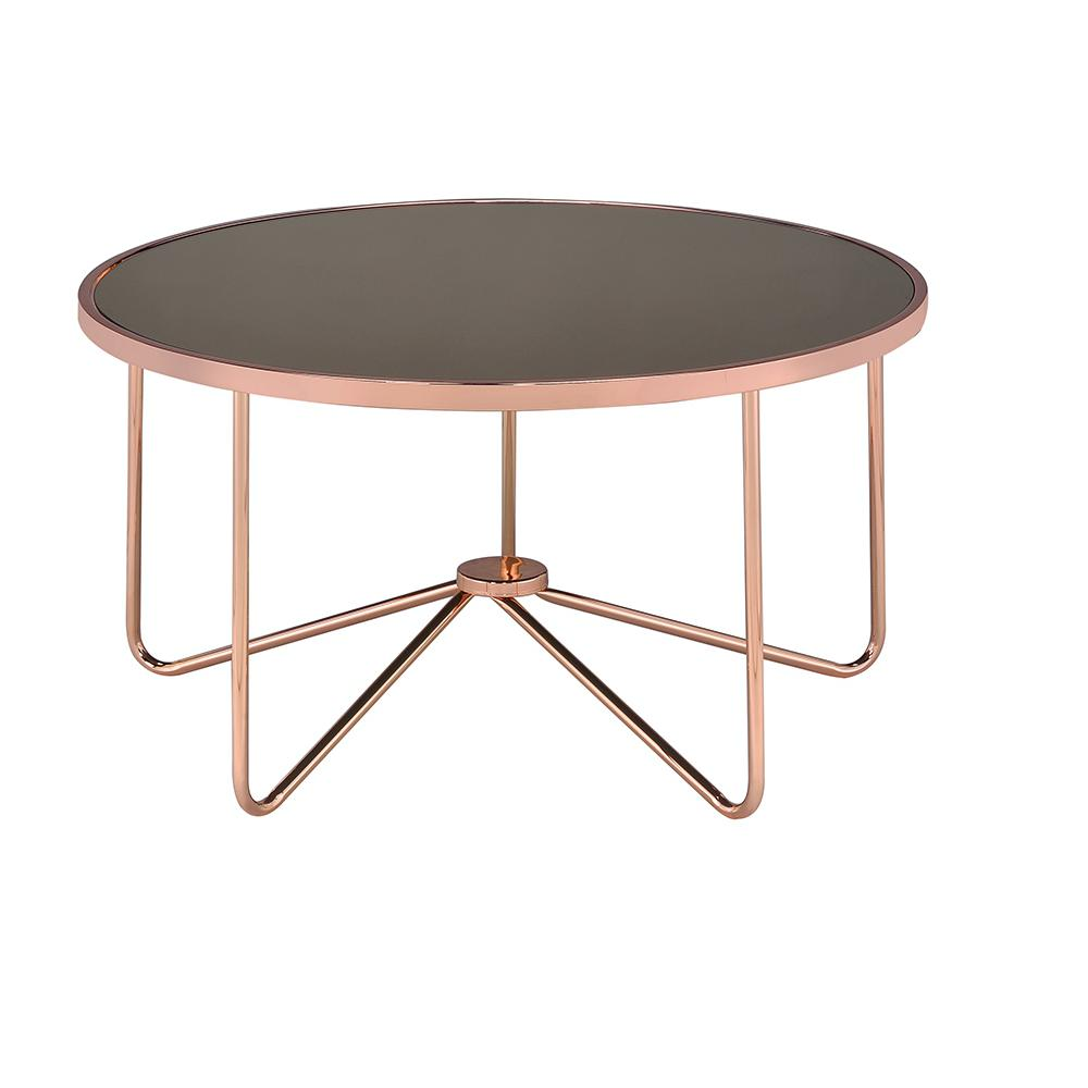 Acme Furniture Alivia Smoky Gl And Rose Gold Coffee Table