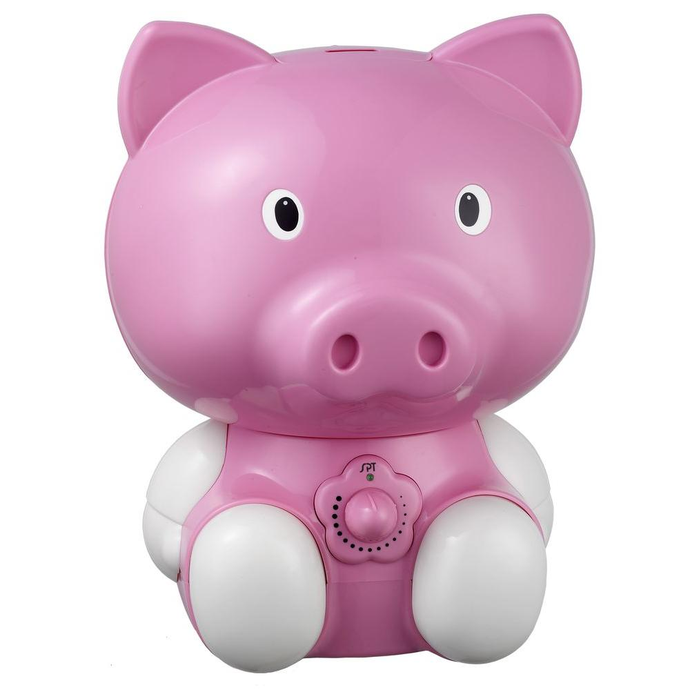 SPT Pig Ultrasonic Cool Mist Humidifier - Pink, Reds/Pinks SPT ultra-sonic humidifiers help your little ones breathe easier by adding moisture to the air with our adorable pig humidifier. Provides year-round relief from the drying effects of AC and heater. Features super-quiet operation, 1.8 liters tank capacity and auto shut-off protection (with no audible alarm) - the perfect addition to any child's room. Color: Reds / Pinks.