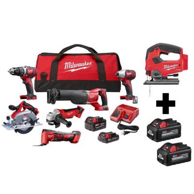 M18 18-Volt Lithium-Ion Cordless Combo Kit (7-Tool) with (4) Batteries, Charger and Tool Bag